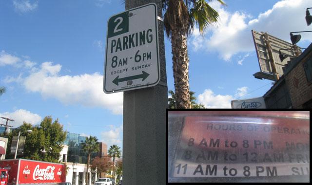 Dear LAist 2 Hour Parking 8 AM To 6 PM Signs Dont Match Meter