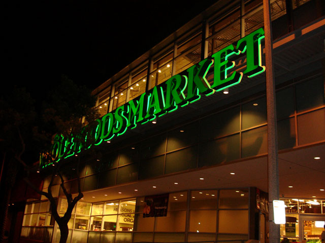 Front of Whole Foods at Night