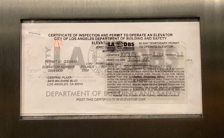 Dear LAist: Why Does It Seem Every Elevator In LA Has An Expired