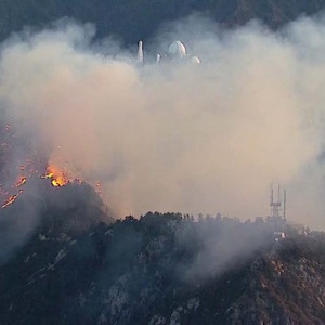 Fire Burning In Angeles National Forest Near Mt. Wilson Observatory