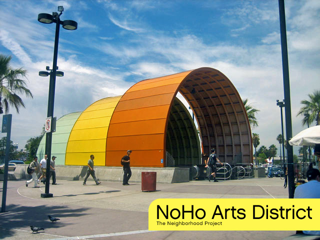 The North Hollywood Red Line Station signals the end of this line, and the start of the Orange Line in the heart of the NoHo Arts District