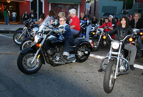 motorcycle contingent led by Vivian Escalante, the President and Coordinator of the DYKE March-Los Angeles