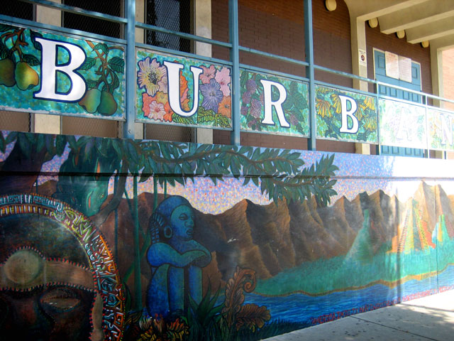 Colorful mural decorates the entrance to Luther Burbank Middle School in Garvanza