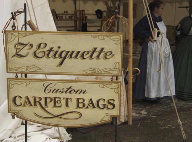 Carpetbags for sale during Civil War reenactment at Tierra Rejada Ranch on 11/11/07.
