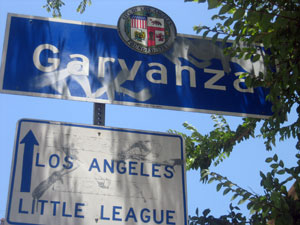 Neighborhood sign for Garvanza at the South end