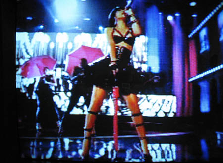 Rihanna performing at the MTV Movie Awards, she is one of only two performers all night
