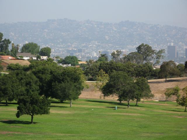 the bowl, with Hollywood Hills in the distance