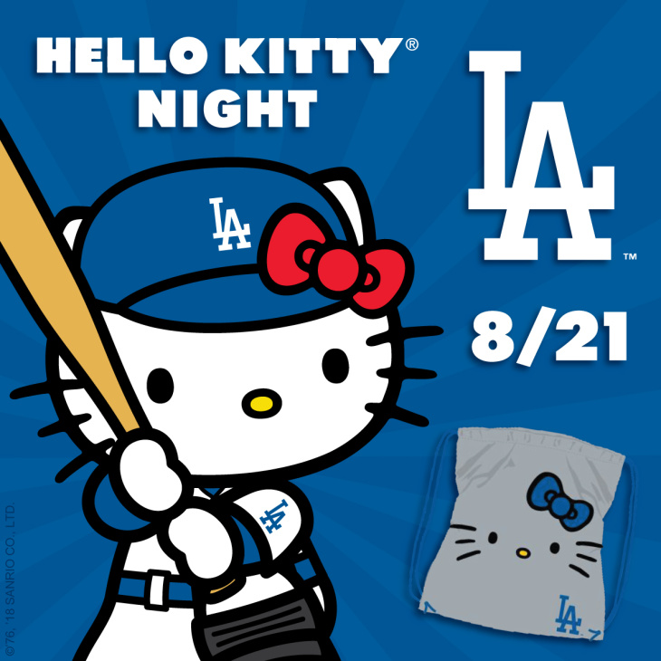 2edbce56303e Miss Kitty will make her second visit to the ballpark this season and fans  can get a fancy Dodgers Hello Kitty drawstring backpack.