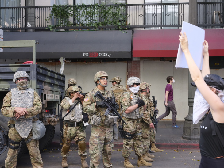 National Guard Keeps Watch On 9th Day Of Anti-Police-Brutality Demonstrations in Downtown LA