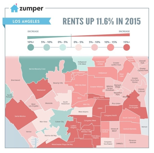 For Rent Map: Map: How Rent Prices Changed Across Los Angeles In 2015: LAist