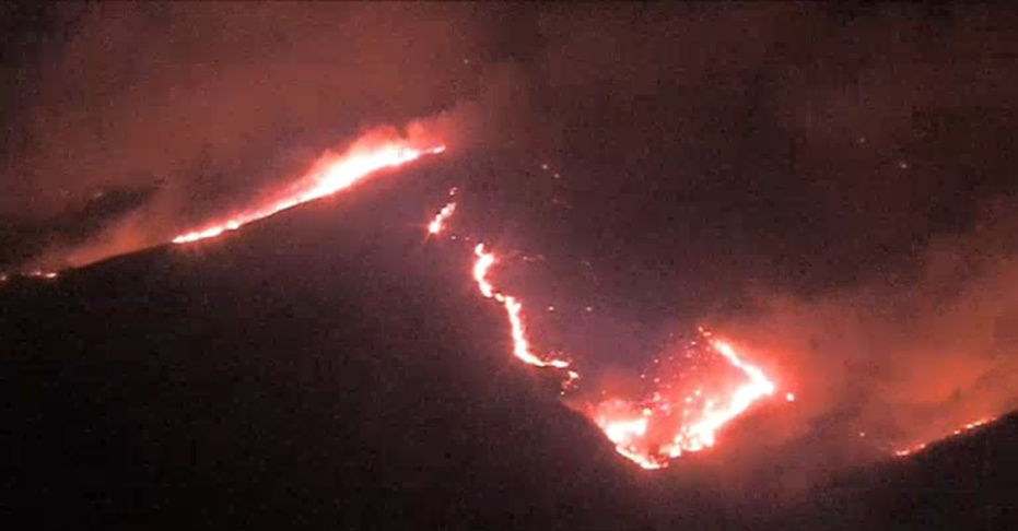 A screenshot showing helicopter footage of the Hill Fire on Thursday Nov. 8 2018